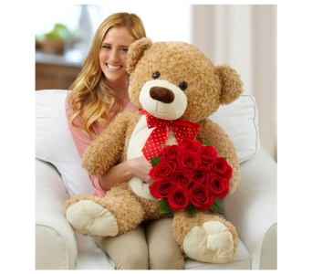 Big Bear with Roses in Bradenton FL, Ms. Scarlett's Flowers & Gifts