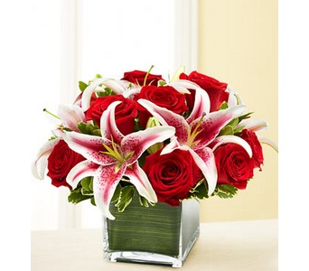 Modern Embrace� Red Rose and Lily Cube in Concord CA, Jory's Flowers
