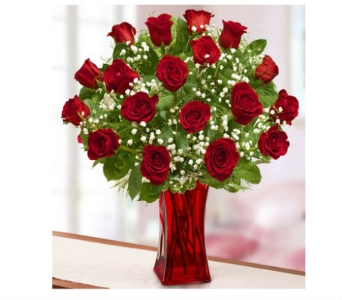 Blooming Love� Premium Red Roses in Red Vase in Watertown CT, Agnew Florist