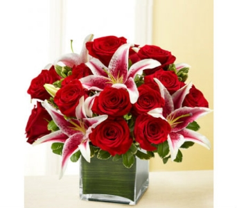Bloomnet Red Rose and Lily Bouquet in Lawrence KS, Englewood Florist