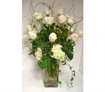 24 White Roses in Spokane WA, Bloem Chocolates & Flowers of Spokane