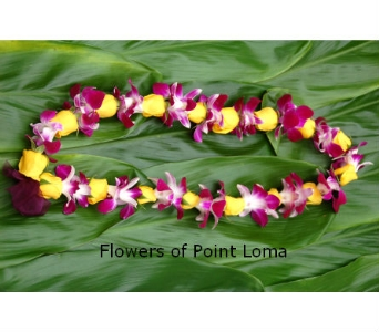 Orchids and Rose Buds Lei in San Diego CA, Flowers Of Point Loma