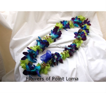 Mixed Blue & Green Orchids Lei  in San Diego CA, Flowers Of Point Loma