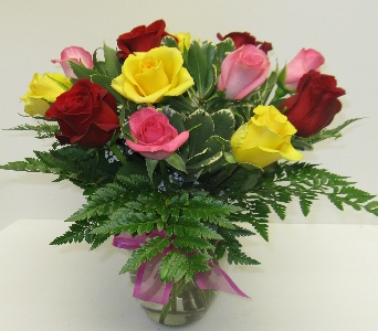 Simply Multi-Colored Roses in Waverly NY, Jayne's Flower Shop