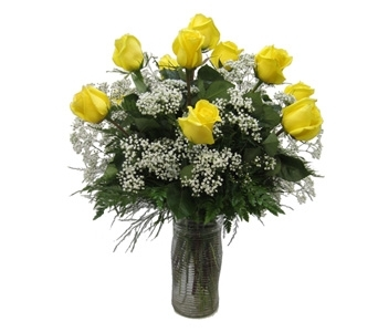 A Dozen Yellow Roses in Lawrence KS, Owens Flower Shop Inc.