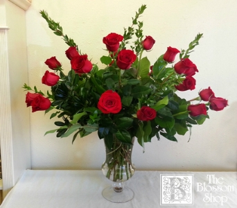 Two Dozen Roses in Elegant Urn in Charlotte NC, The Blossom Shop
