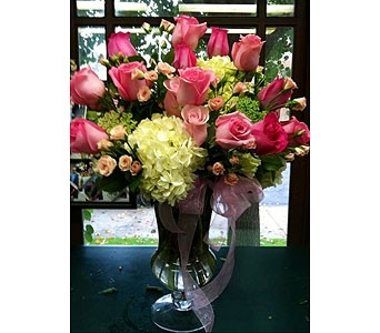 Blushing Pink Roses and Hydrangeas in Visalia CA, Flowers by Peter Perkens Flowers Inc.