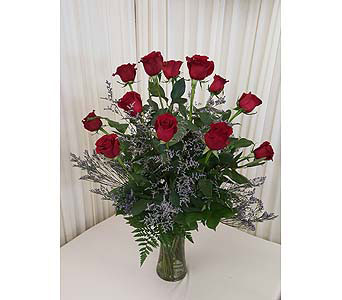 Dozen red  roses vased in Glenview IL, Hlavacek Florist of Glenview