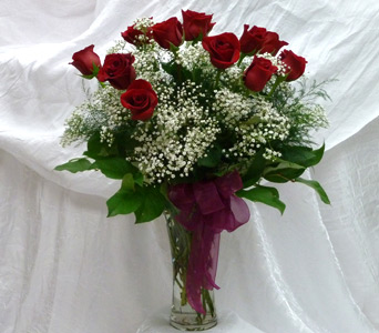 Dozen Red Roses in a Vase in Kimberly WI, Robinson Florist & Greenhouses