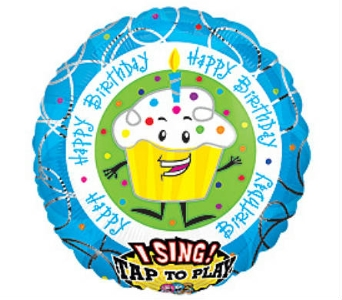 28 Singing Happy Birthday Balloon Cupcake in Manhasset NY, Town & Country Flowers