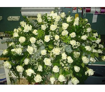 White Rose Casket Spray in New Rochelle NY, Enchanted Flower Boutique