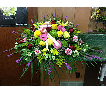 Bright & Beautiful Casket Spray in Dorchester MA, Lopez The Florist