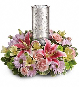 Just Delightful Centerpiece by Teleflora in Uhrichsville OH, Twin City Greenhouse & Florist Shoppe