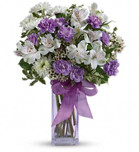 Teleflora's Lavender Laughter Bouquet in Riverside CA, Mullens Flowers