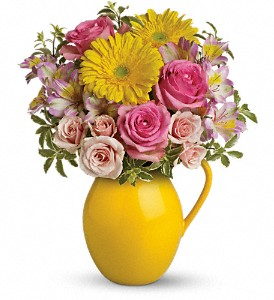 Teleflora's Sunny Day Pitcher Of Charm in Lindon UT, Bed of Roses