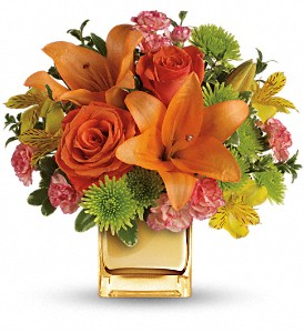 Teleflora's Tropical Punch Bouquet in Menomonee Falls WI, Bank of Flowers