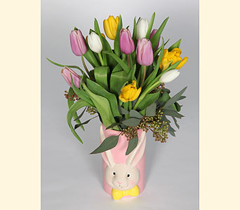 Bunny Vase of Tulips in Southampton PA, Domenic Graziano Flowers