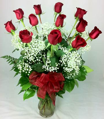 12 LONG STEM RED ROSES IN VASE by Rubrums in Ossining NY, Rubrums Florist Ltd.
