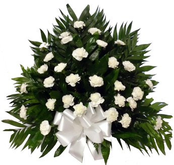 32 Carnation Tribute Mache: All White in Scranton PA, McCarthy Flower Shop<br>of Scranton