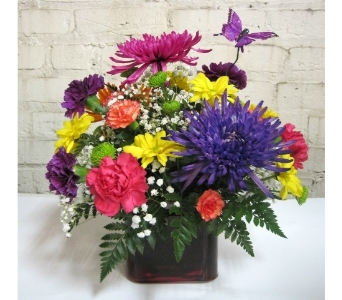 Butterfly & Spring Flower Bouquet in Moorhead MN, Country Greenery