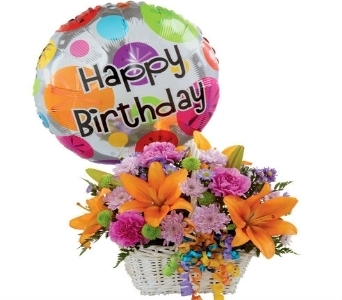 Bright Birthday Basket with Balloon  in Princeton, Plainsboro, & Trenton NJ, Monday Morning Flower and Balloon Co.