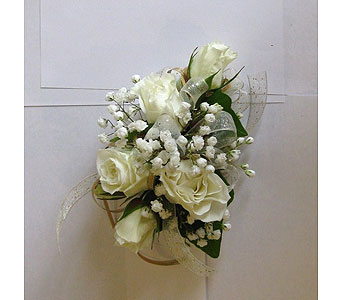 White Rose Corsage in Hales Corners WI, Barb's Green House Florist