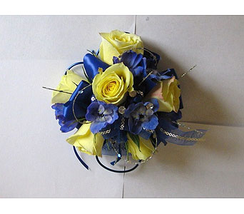 Yellow & Blue Corsage in Hales Corners WI, Barb's Green House Florist