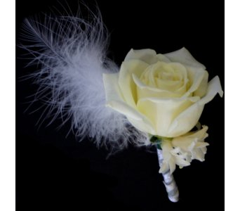 White Boutonniere in Norristown PA, Plaza Flowers