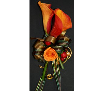 Orange & Brown Corsage in Norristown PA, Plaza Flowers