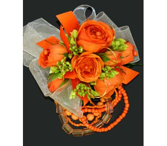Orange & Green Corsage in Norristown PA, Plaza Flowers