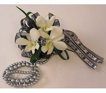 Wrist Corsage - Dendrobium Orchids* in Bloomington IL, Forget Me Not Flowers