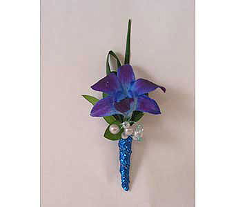 Boutonniere � toned dendrobium orchid in Bloomington IL, Forget Me Not Flowers