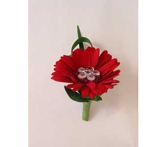 Boutonniere-red* mini gerbera daisy in Bloomington IL, Forget Me Not Flowers