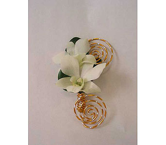 Boutonniere-two white* dendrobium orchids in Bloomington IL, Forget Me Not Flowers