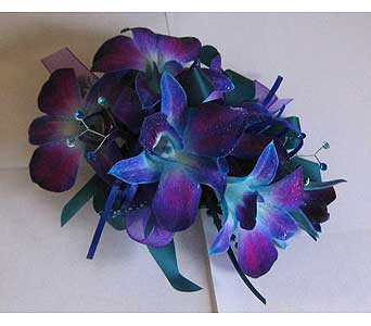 Blue Orchid Corsage in Hales Corners WI, Barb's Green House Florist