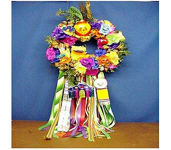 Fiesta Carrot Top Head Wreath in San Antonio TX, Allen's Flowers & Gifts