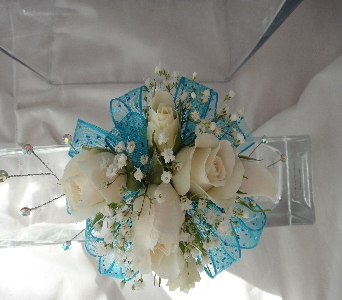 Cream roses accented with teal in Greenville SC, Expressions Unlimited