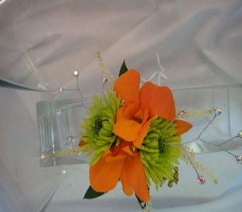 Green and Orange Corsage in Greenville SC, Expressions Unlimited