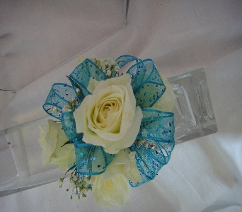 White rose with teal in Greenville SC, Expressions Unlimited