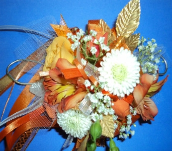 GOLDEN ORANGE MIXED WRIST CORSAGE in Hagerstown MD, Chas. A. Gibney Florist & Greenhouse