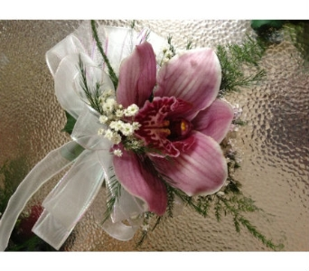 pink cymbidium wristlett in Wellington FL, Wellington Florist