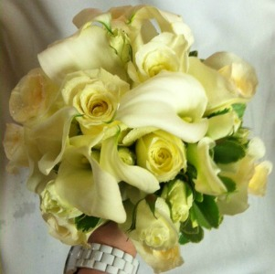 All White Bouquet  in Lemont IL, Always with Flowers