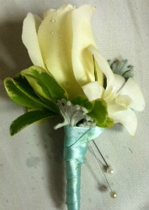 White and Seafoam Boutonniere  in Lemont IL, Always with Flowers