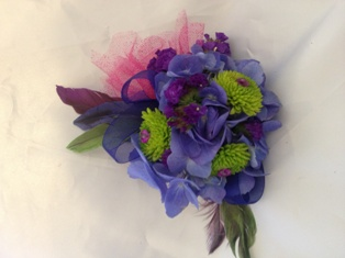 Hydrangea & Button Corsage in Henderson NV, A Country Rose Florist, LLC