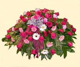 Pink Shower Casket Spray in Lake Charles LA, A Daisy A Day Flowers & Gifts, Inc.