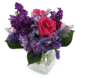 Purple & Hot Pink Table Centerpiece (Metro-Detroit in Southfield MI, Thrifty Florist