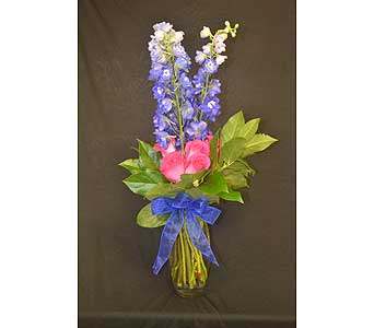 Delphinium & Hot Pink Roses DRP in Port St Lucie FL, Flowers By Susan