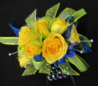 Yellow roses, lime & blue accent in Lawrence KS, Owens Flower Shop Inc.