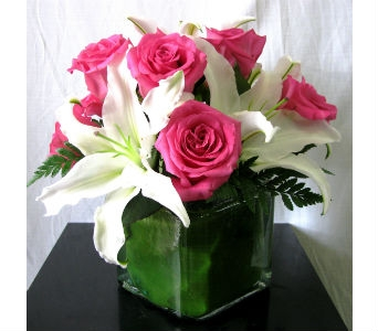 Pink Rose And Lily Cube Bouquet in San Diego CA, The Floral Gallery