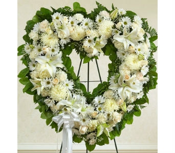 Always Remember Floral Heart Tribute - White in Whittier CA, Ginza Florist